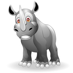 Rinoceronte Cartoon-Cute Rhinoceros-Vector