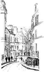 Canvas Prints Art Studio view of Montmartre in Paris under snow