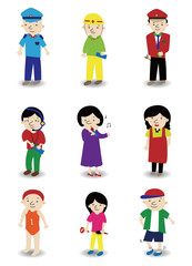 cartoon people job icon set