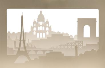 Paris carton silhouette with sand structure