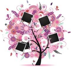 arbre photos fleuri avec papillons