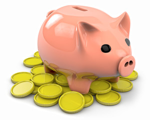 Plastic piggy with many coins
