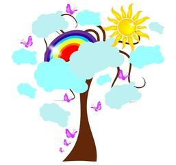 Spoed Foto op Canvas Regenboog Rainbow tree