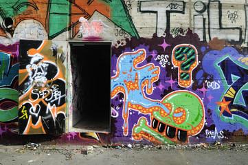 Open door with Graffiti