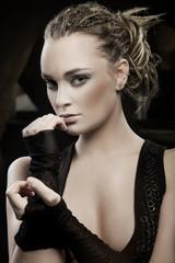 Portrait of beautiful stylish lady.