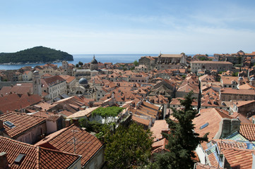Rooftops in Walled City of Dubrovnic Croatia