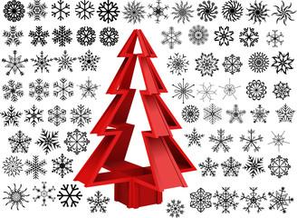 Decor Snowflakes & Christmas Tree