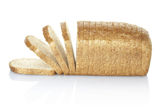 Bread sliced with clipping path