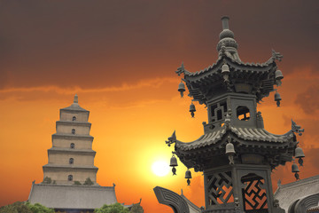Sunset in the Giant Wild Goose Pagoda, X'ian, China