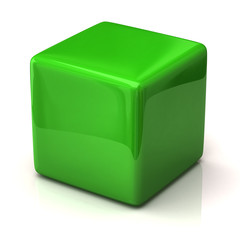 Green cube isolated on white background