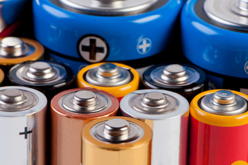 Accumulators and batteries close up.