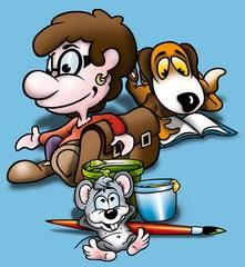 School - Cartoon Background Illustration