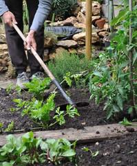 jardinier en train de biner