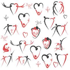 love. line. set of stylized  figures