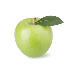 Ripe green apple with a leaf on a white background