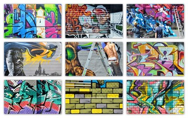 Printed kitchen splashbacks Graffiti collage graffiti...collage