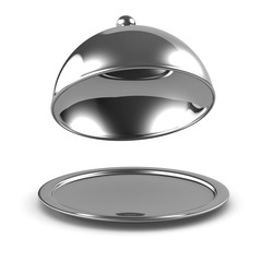 3d Silver platter opens from the front