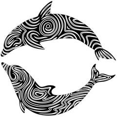 Delfino Tatuaggio-Dolphin Tattoo-Vector