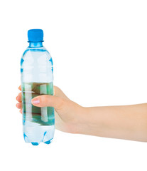 Hand with water bottle