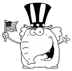 Elephant Wearing A Hat And Waving An American Flag