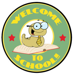 Green Worm On A Green Welcome To School Circle
