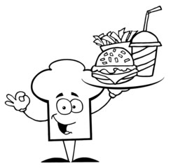 Outlined Chef Hat Guy Serving Fast Food