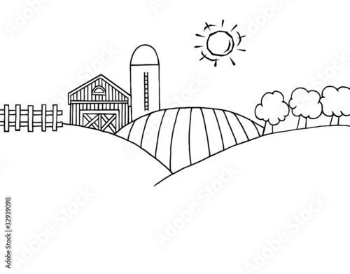 Outline Of Rolling Hills A Farm And Silo On Land