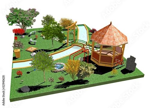 Giardino parco pubblico public garden 3d 2 stock photo for Giardino 3d gratis italiano
