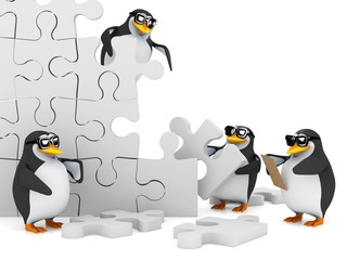 3d Penguins build a jigsaw wall