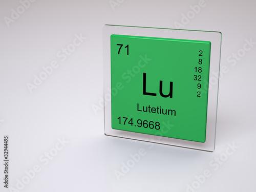 Lutetium Symbol Lu Chemical Element Of The Periodic Table Stock