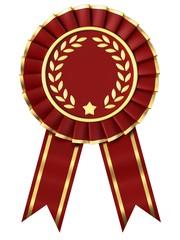 Red Ribbon Award isolated on white background