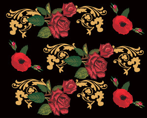 background with red roses and gold curls