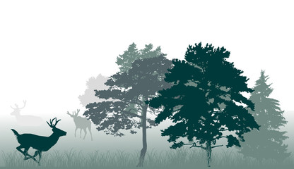 green trees and running deer on white