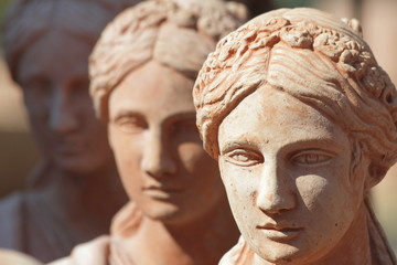 traditional tuscan earthenware garden sculptures closeup
