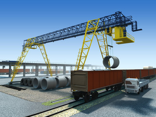 Unloading the wagon on the logistics station