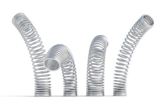 metal springs 3d render illustration