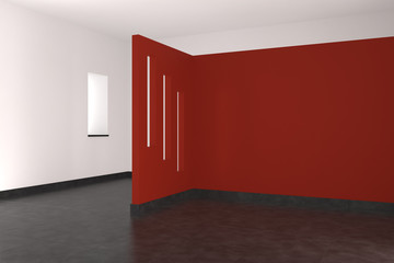 modern empty interior with red wall and tiled floor