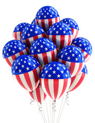 USA patriotic balloons over white background
