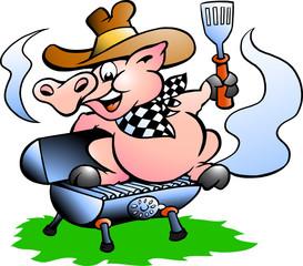 Pig sitting on a BBQ barrel