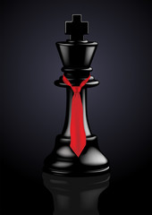 Chess Black King with a tie - Vector Illustration