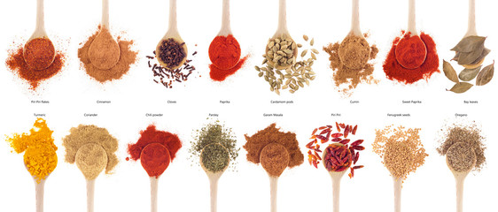 Spices collection on spoons