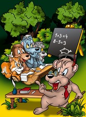 Spoed Foto op Canvas Bosdieren Animal Classroom - Cartoon Background Illustration