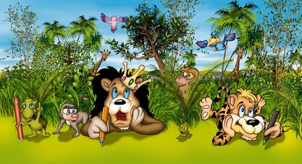 Animal Artists - Cartoon Background Illustration