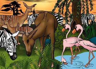 African Animals - Cartoon Background Illustration