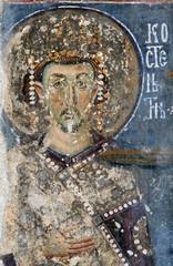 Emperor Constantine, fresco painting from Momantery Mileseva