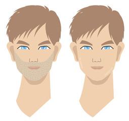 髭とツルツル肌の男性