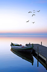 Fotorolgordijn Pier en el lago azul