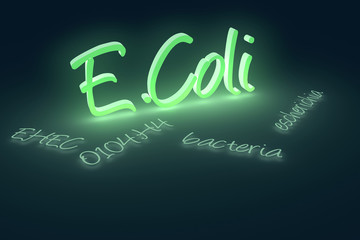 Computer generated rendering of EHEC coli bacteria text