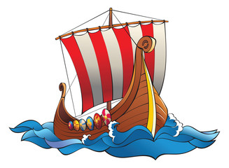 Drakkar (vikings battle  longship) in the ocean, vector