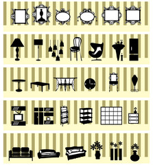 Stylish black and white home accessories and decoration